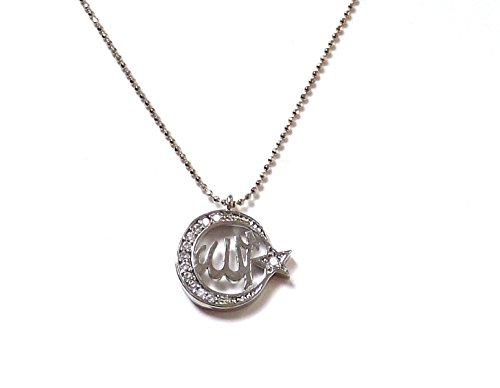 Remi Bijou Necklace Pendant - Name of Allah - Mond with a Star - Muslim Silver Color