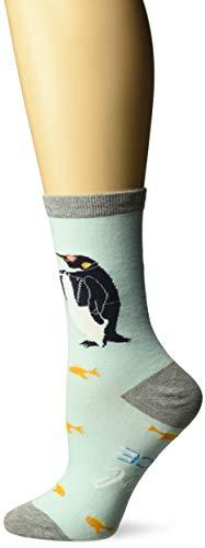 K. Bell Women's Playful Animals Novelty Casual Crew Socks, Penguin (Ice), Shoe Size: 4-10
