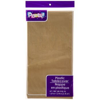 3-PACK DISPOSABLE PLASTIC TABLE COVERS / TABLECLOTHS (DARK - Tablecloth Gold