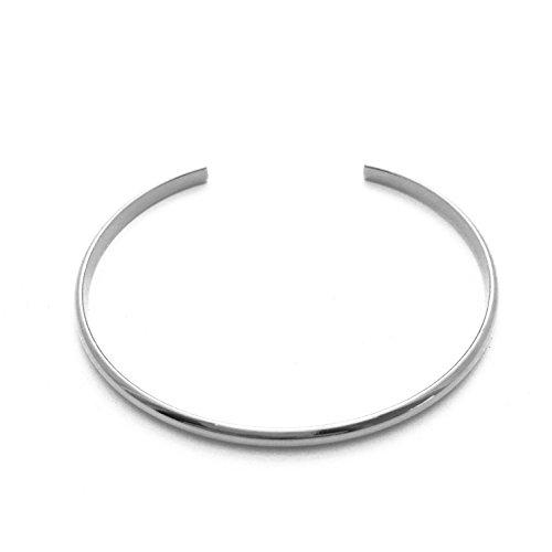 (HONEYCAT Thin Open Bracelet/Cuff Minimalist, Delicate Jewelry in Silver (Rhodium Plate))