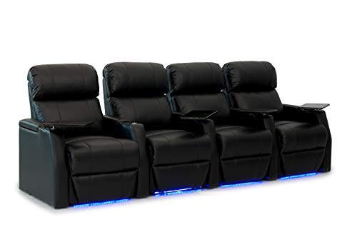 HT Design Belmont Home Theater Seating Row of 4 Power Recline Top Grain Black Leather w/Power Headrest LED Cupholders & Base Lighting ()