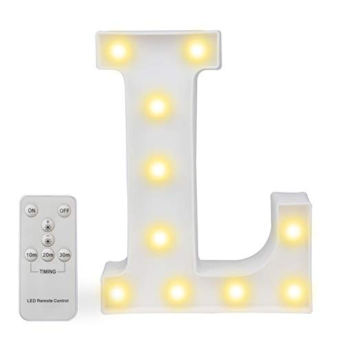 Pooqla LED Marquee Letter Lights Alphabet Light Up Sign with Wireless Timer Remote Control Dimmable for Wedding Home Party Bar Decoration - RC - -