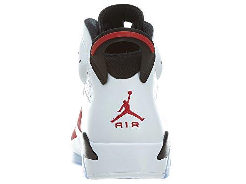 Nike Mens Air Jordan 6 Scarpe Da Basket Retrò In Pelle Carminio Bianco, Nero Carminio