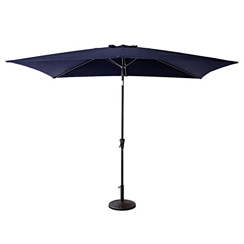 C-Hopetree 6 feet 6 inch x 10 feet Patio Market Outdoor Umbrella with Crank Winder, Push Button Tilt, Rectangle, Navy Blue