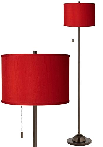 Modern Floor Lamp Club Style Slim Tiger Bronze China Red Textured Faux Silk Drum Shade for Living Room Reading - Possini Euro Design ()