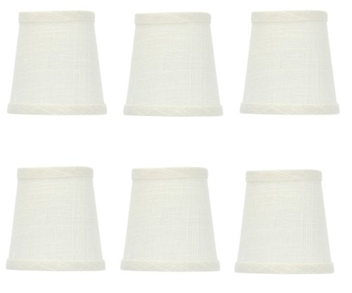 Upgradelights White Linen Barrel Drum Chandelier Shades Set of 6 Bottom Is 4 Inches and Clips to a (Linen Barrel Shade)