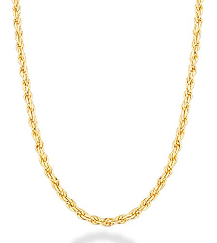 MiaBella 18K Gold Over Sterling Silver Italian 2mm Solid Diamond-Cut Braided Rope Chain Necklace Anklet Bracelet for Men Women 925 Italy 6.5, 7, 8, 9, 16, 18, 20, 22, 24, 26, 30 Inch (24)