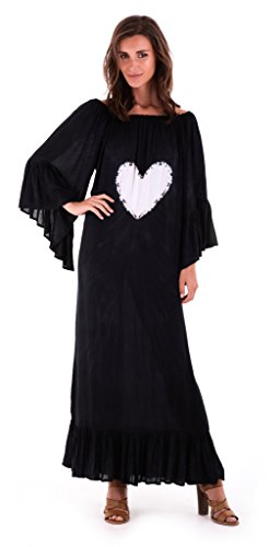 Tie Heart Dye Dress - Shu-Shi Summer Maxi Heart Tie Dye Boho Cover Up Dress Trumpet Sleeves, Medium/Large, Black