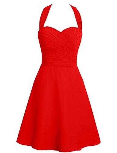 Cabestro Honor Gala Corto Dama Gasa Correas Boda De Fiesta Vestidos Rojo Trajes Huini Formal fTnCqq