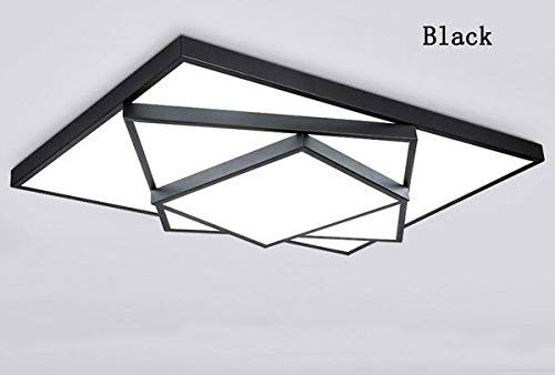 FidgetGear Modern LED Square Stack Ceiling Light Square Pendant Lamp Lighting AC 85-260V 63cm40cm10cm 36W Black Cool White(no dimming)