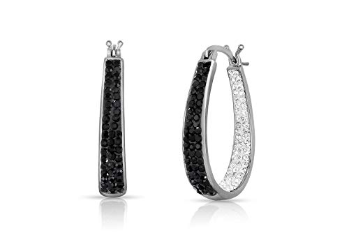 Inside Out Hoop Oval Crystal Hoop Earings, Fashion Hoop Earrings for Women- Austrian Crystal Hoop Earrings, Oval Earrings For Women (Black and White)