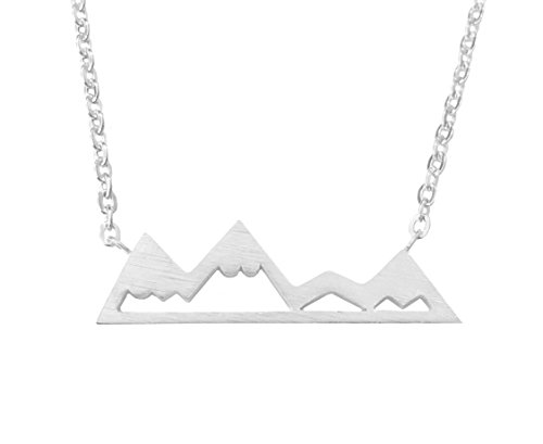 Altitude Boutique Snowy Mountain Necklace for Women, Nature Enthusiasts, Skiers, Snowboarders, Hikers, Campers (Silver)