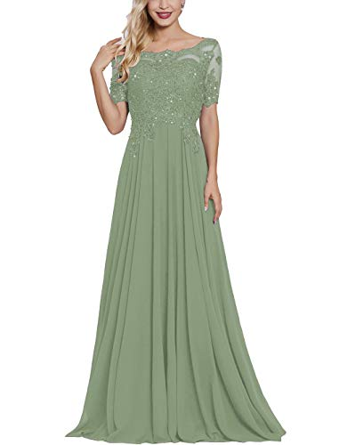 Petite Mother Bride Dress with Short Sleeves Long Maxi Formal Evening Party Gown for Women Dusty Sage