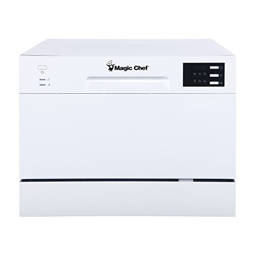 Magic Chef MCSCD6W5 6 Plate Countertop Dishwasher, White