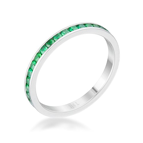 Classic | Simple Ring for Woman Emerald Round Cubic Zirconia Channel Setting Size 7 from Kate Bissett