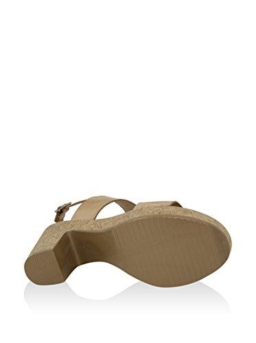 Sandalia de tacon En Piel Marron Beige