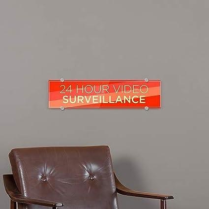 24 Hour Video Surveillance 5-Pack Modern Diagonal Premium Brushed Aluminum Sign 24x6 CGSignLab