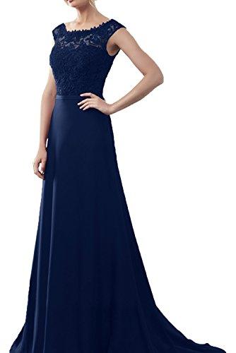 La_Marie Braut Weinrot Langes Festlich Damen Abendkleider Ballkleider Chiffon Kleider lang mit Spitze Dunkel Blau Uz7f7E0iap