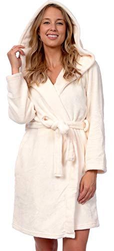 Patricia Women's Premium Soft Plush Robe Mid Length with Hood (Gardenia, S/M)