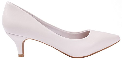 Shoes Bas Pointu PU AgeeMi Talon 36 Femme Cuir Chaussures à Légeres Tire EuD86 Blanc qadxw0