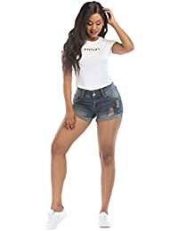 Women's Summer Distress Ripped Denim Pants Blue Shorts Jeans