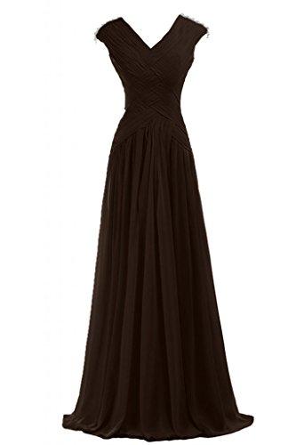 Gowns da a scollo sera da motivo Sunvary Pageant d'onore con da damigella pieghettato Cioccolato abito donna abiti V wx7Y4qZf
