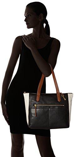 Fossil Black nbsp; Black Tote Ew Fiona Women's Shopper White Damentasche 87Ugr7