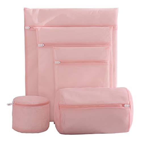 IWEIK Set of 5 Mesh Laundry Bags Clothing Washing Bags Travel Storage Organize Bags Bra Wash Bag (Pink)