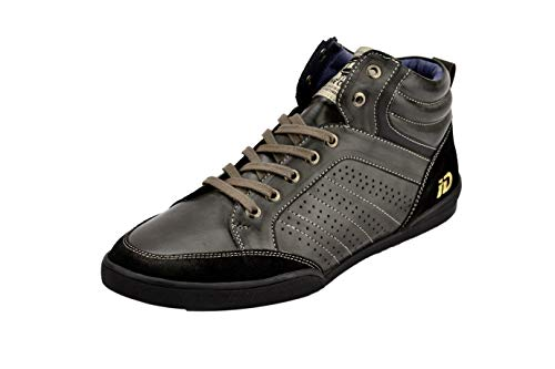 ID Men's Casual Ankle Length Sneakers Man Made Leather Fashion Shoes- Black