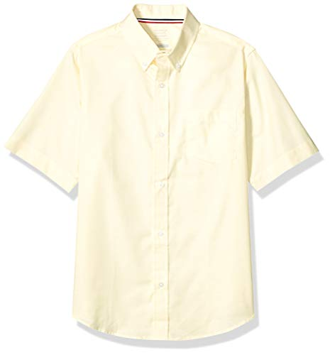 (French Toast Big Boys' Short Sleeve Oxford Dress Shirt, Yellow, 16)