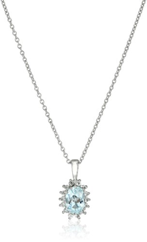 Sterling Silver Italian Blue Topaz and Crystal Pendant Necklace, 18