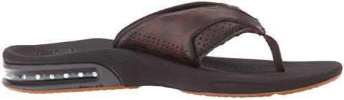Reef Men's Leather Fanning Lux Sandal, Vintage Brown, 11 M US