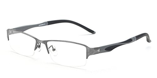 LUOMON Customize Prescription Glasses for Men Semi Rimless Business Eyeglasses with Titanium Alloy Frame ()
