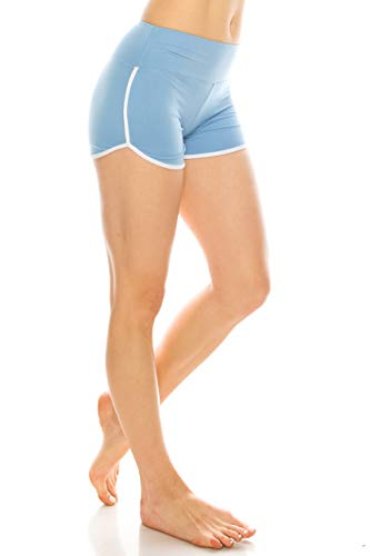 ALWAYS Women Riverdale Merchandise Shorts - Premium Buttery Soft Stretch Dolphin Yoga Workout Cheerleader Dance Volleyball Short Pants with Stripes Sky Blue White L