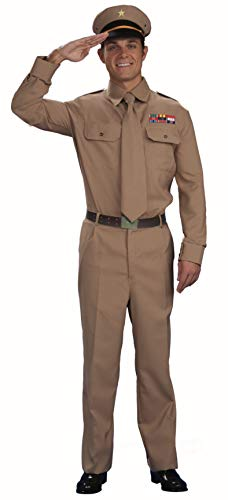 Forum Novelties Men's World War Heroes Costume General Shirt and Tie, Tan, One Size (Nazi Soldier Uniform)