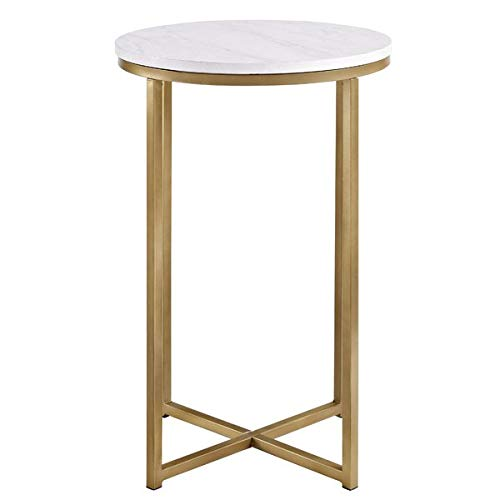 Metal End Table - Round End Table - White/Gold