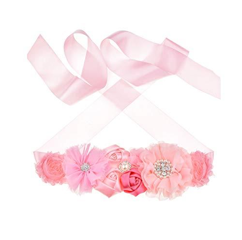 Floral Fall Flower Maternity Pregnancy Sash Baby Shower Gift Photo Prop Girls Bridal Rhinestone Belt SH-19 (Pink) ()