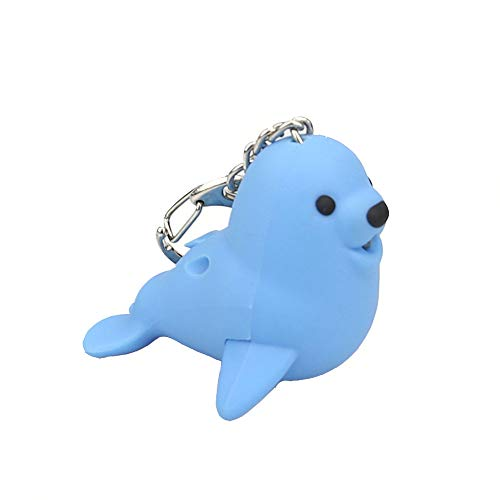 Cute Cartoon Seal Keychain with LED Light and Sound Keyfob Kids Toy Gift ()