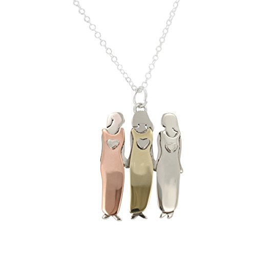 Sisters Necklace, Three Sisters or Best Friends Pendant Necklace in Mixed Metals on 18 - 20 inch Silver Plated Chain, #7247