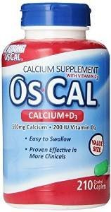 Os-Cal 500 + D, Calcium 500 mg., D3 200 I.U., 210 Coated Caplets (2 Pack) by Oc-Cal