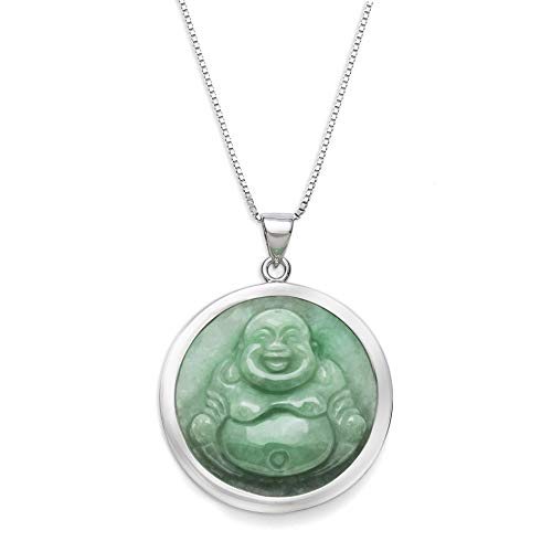 Sterling Silver Natural Green Jade Buddha Necklace,18