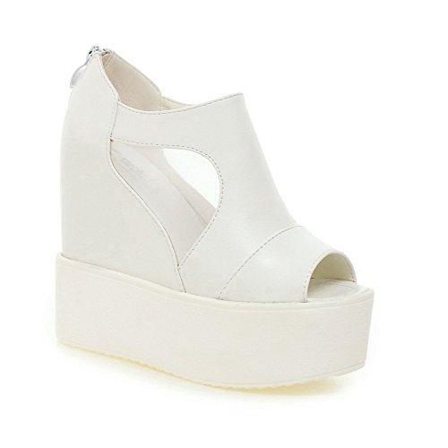 VogueZone009 Women's Peep Toe High-Heels Zipper Zipper Sandals White zeHUIESHF