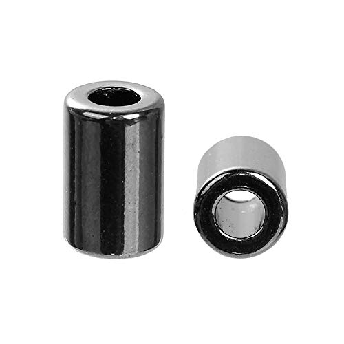 Calvas Zinc Based Alloy Gunmetal Spacer Bracelets Accessory Metal Heads Cylinder (Fits Cord Size: 5mm) 15mmx 10mm,5 PCs