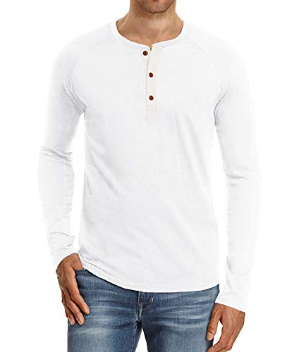 PEGENO Men's Casual Slim Fit Long Sleeve Henley T-shirts Cotton Shirts White-US ()
