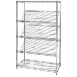 (Quantum Storage Systems 1836SL6C 5-Tier Wire Shelving Unit with 3 Slanted Shelves, Stationary, Chrome Finish, 400 lb. load capacity, 36