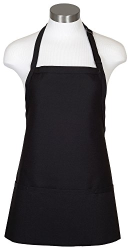 Chef Works Three Pocket Apron, Black, 24 Length by 28-Inch Width