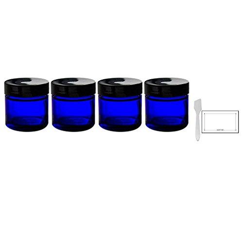 Cobalt Blue Glass Straight Sided Jar - 1 oz  + Spatulas and
