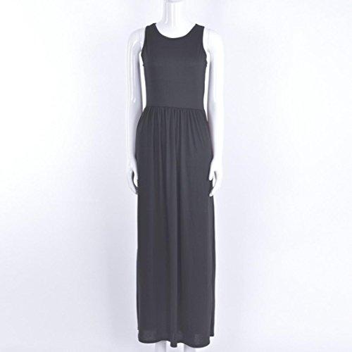 Ouneed Mujeres sin mangas de verano fiesta de la noche bohemio playa largo Maxi vestido de color sólido con bolsillo Negro