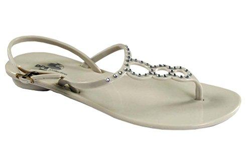 Dpn Shoes Dws1066 Sandali Con Gelatina Di Cristallo Lady Beige