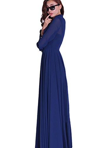 Maxikleid Boho Kleid Langarm Cocktail BININBOX Damen Blau Chiffon lang Strandkleid qITSxASw